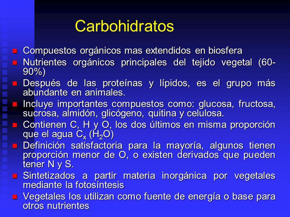 Carbohidratos Compuestos orgánicos mas extendidos en biosfera