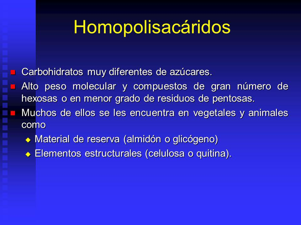 Homopolisacáridos Carbohidratos muy diferentes de azúcares.