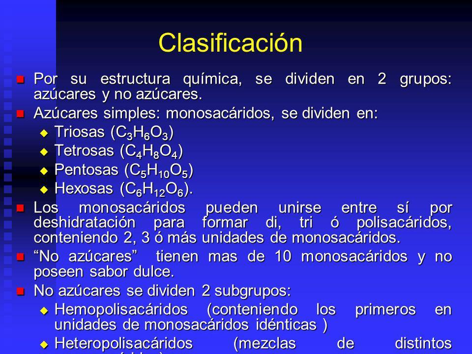 Clasificación Por su estructura química, se dividen en 2 grupos: azúcares y no azúcares. Azúcares simples: monosacáridos, se dividen en: