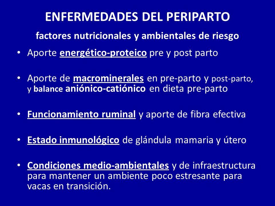 ENFERMEDADES DEL PERIPARTO factores nutricionales y ambientales de riesgo