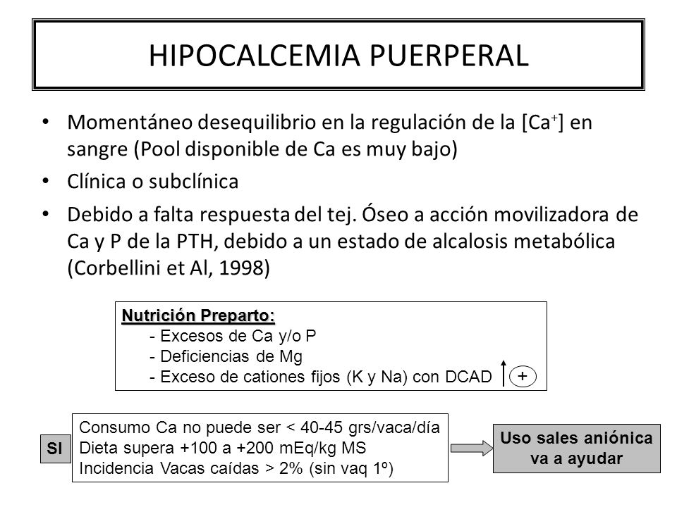 HIPOCALCEMIA PUERPERAL