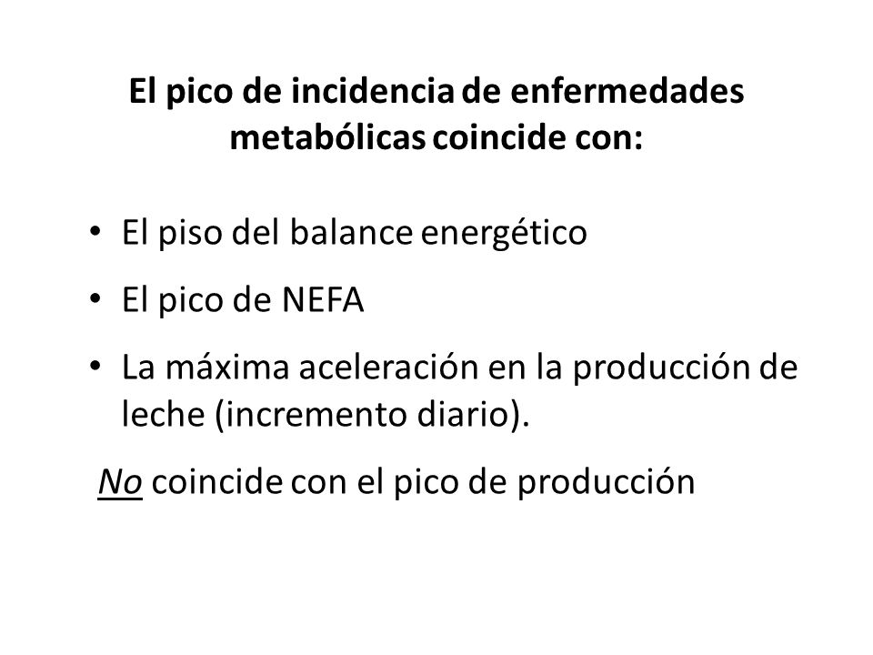El pico de incidencia de enfermedades metabólicas coincide con: