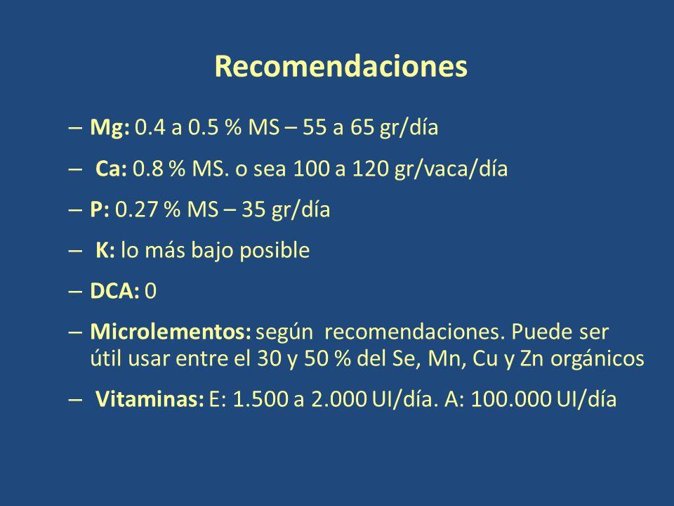 Recomendaciones Mg: 0.4 a 0.5 % MS – 55 a 65 gr/día