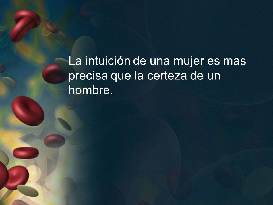 La intuición de una mujer es mas precisa que la certeza de un hombre.