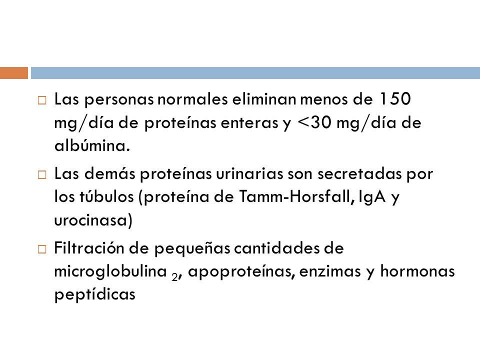 Las personas normales eliminan menos de 150 mg/día de proteínas enteras y <30 mg/día de albúmina.