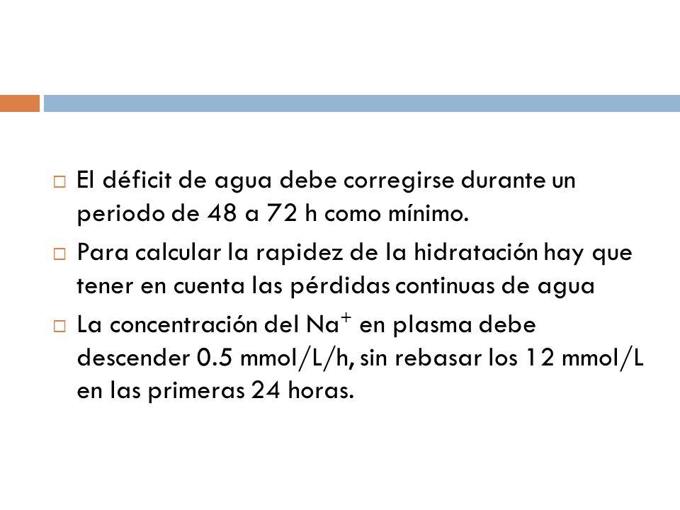 El déficit de agua debe corregirse durante un periodo de 48 a 72 h como mínimo.