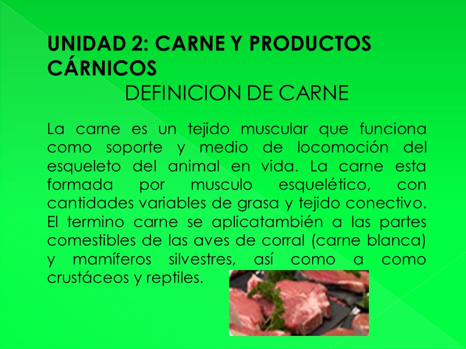 UNIDAD 2: CARNE Y PRODUCTOS CÁRNICOS DEFINICION DE CARNE