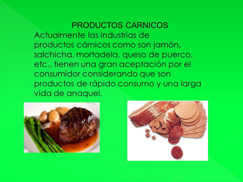 PRODUCTOS CARNICOS Actualmente las industrias de. productos cárnicos como son jamón,