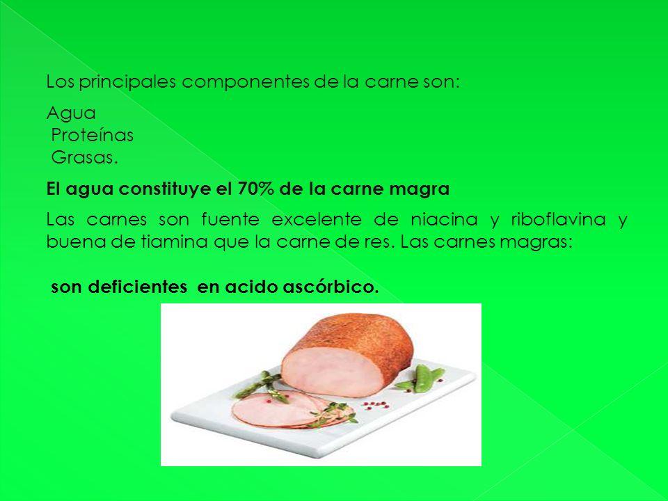 Los principales componentes de la carne son: