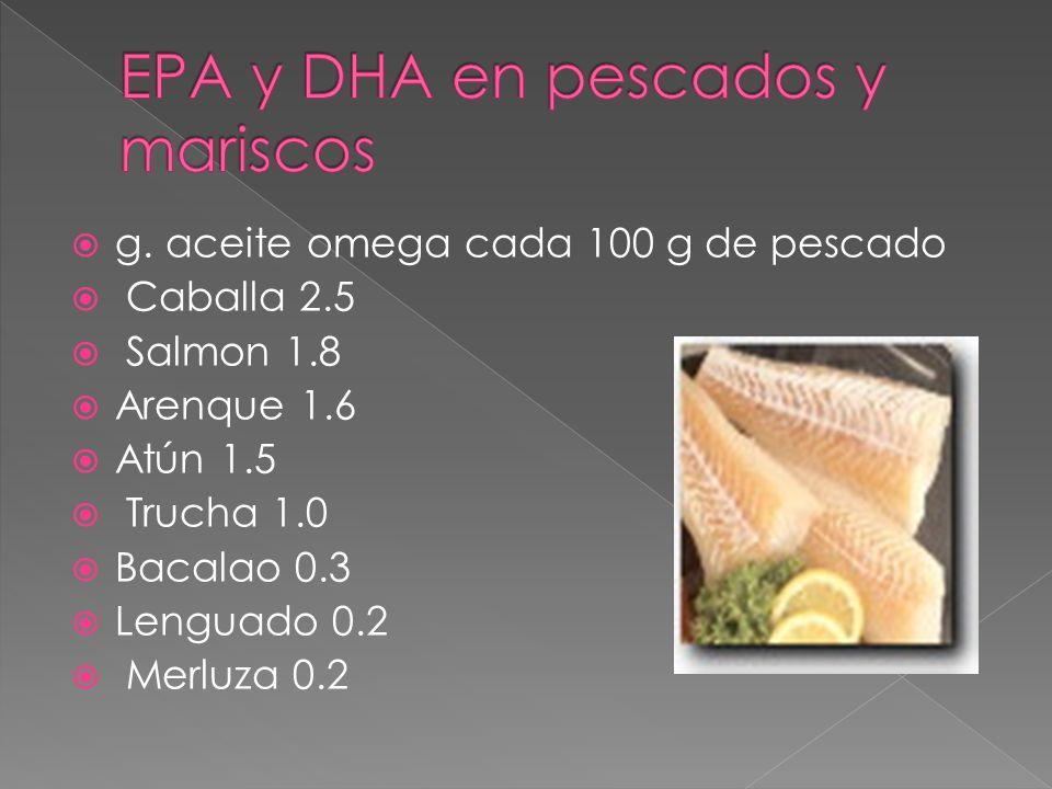 EPA y DHA en pescados y mariscos