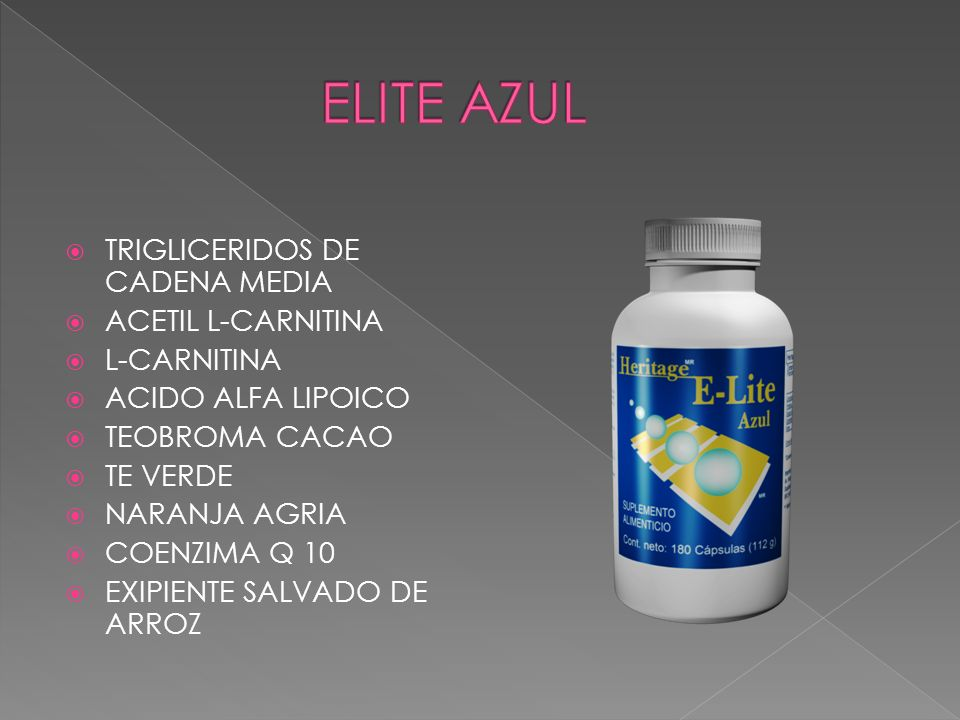 ELITE AZUL TRIGLICERIDOS DE CADENA MEDIA ACETIL L-CARNITINA