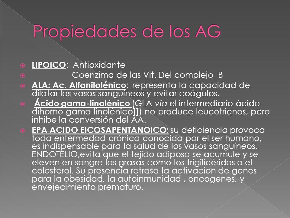 Propiedades de los AG LIPOICO: Antioxidante