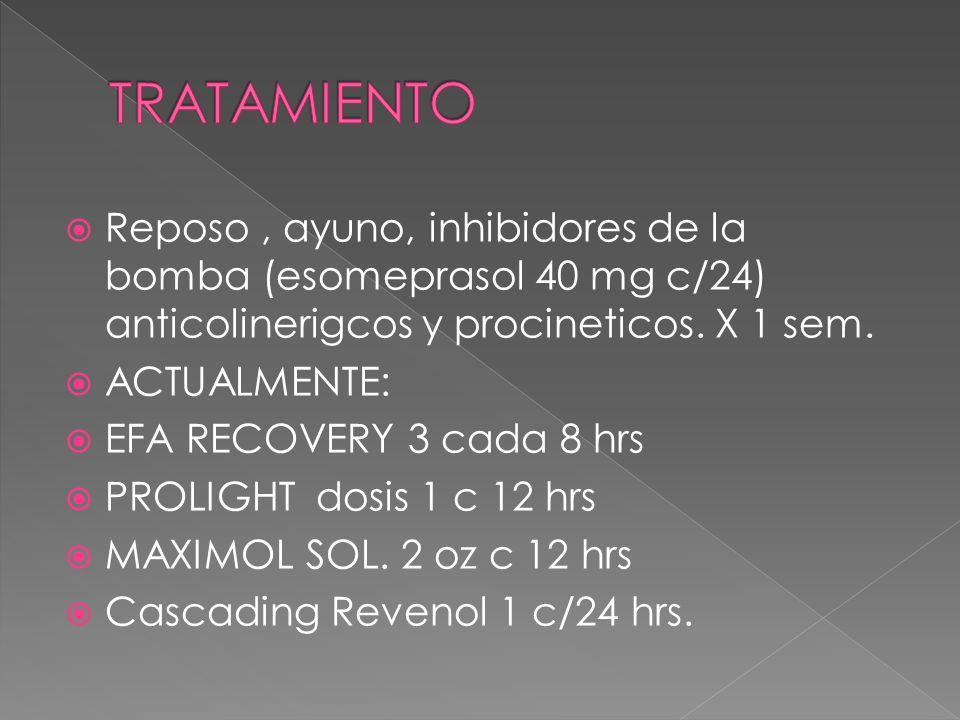 TRATAMIENTOReposo , ayuno, inhibidores de la bomba (esomeprasol 40 mg c/24) anticolinerigcos y procineticos. X 1 sem.