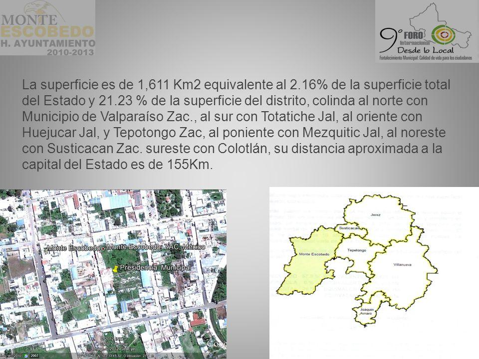 La superficie es de 1,611 Km2 equivalente al 2