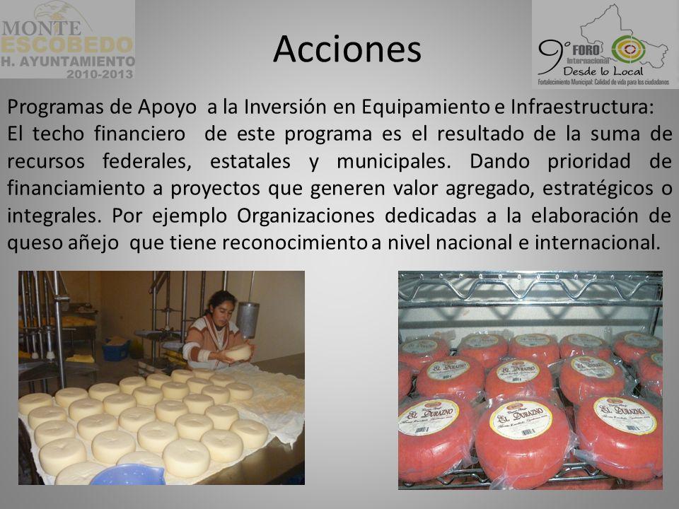 Acciones Programas de Apoyo a la Inversión en Equipamiento e Infraestructura:
