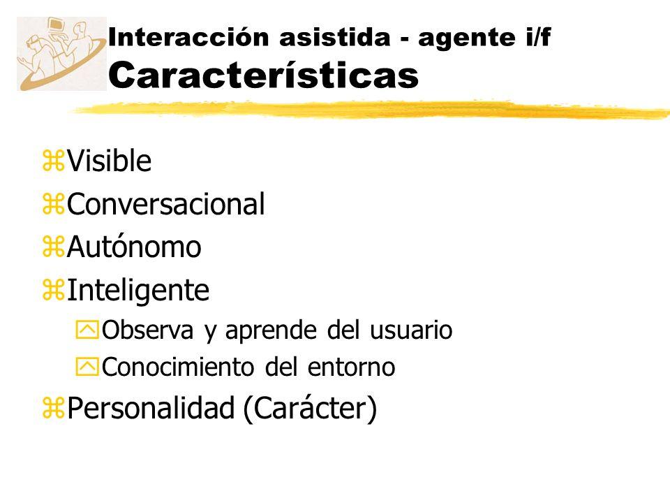 Interacción asistida - agente i/f Características