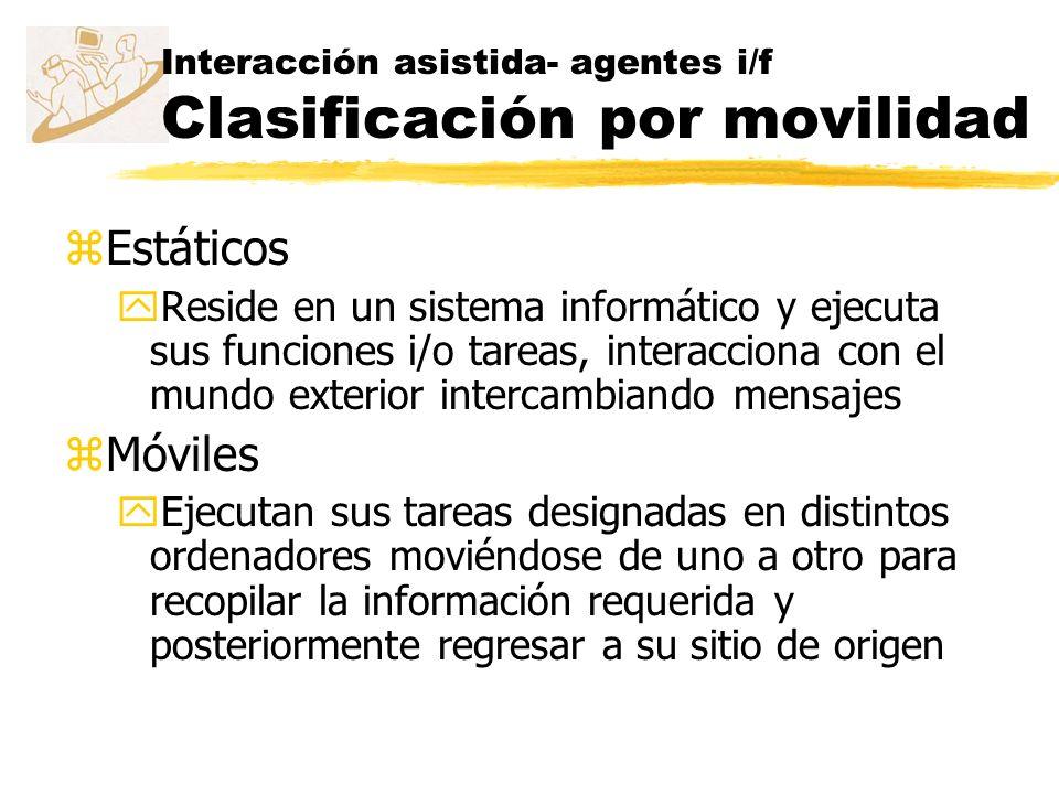 Interacción asistida- agentes i/f Clasificación por movilidad
