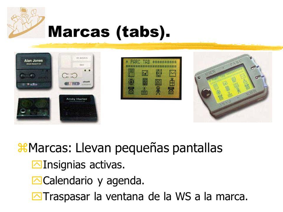 Marcas (tabs). Marcas: Llevan pequeñas pantallas Insignias activas.