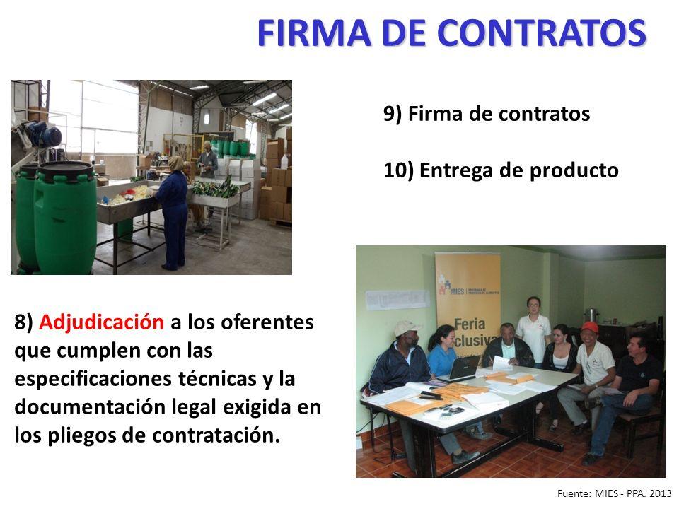 FIRMA DE CONTRATOS 9) Firma de contratos 10) Entrega de producto