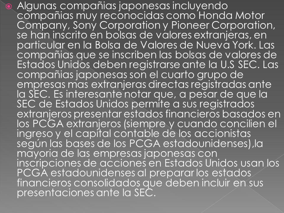 Algunas compañias japonesas incluyendo compañias muy reconocidas como Honda Motor Company, Sony Corporation y Pioneer Corporation, se han inscrito en bolsas de valores extranjeras, en particular en la Bolsa de Valores de Nueva York.