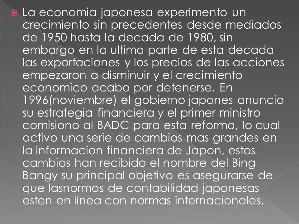 La economia japonesa experimento un crecimiento sin precedentes desde mediados de 1950 hasta la decada de 1980, sin embargo en la ultima parte de esta decada las exportaciones y los precios de las acciones empezaron a disminuir y el crecimiento economico acabo por detenerse.