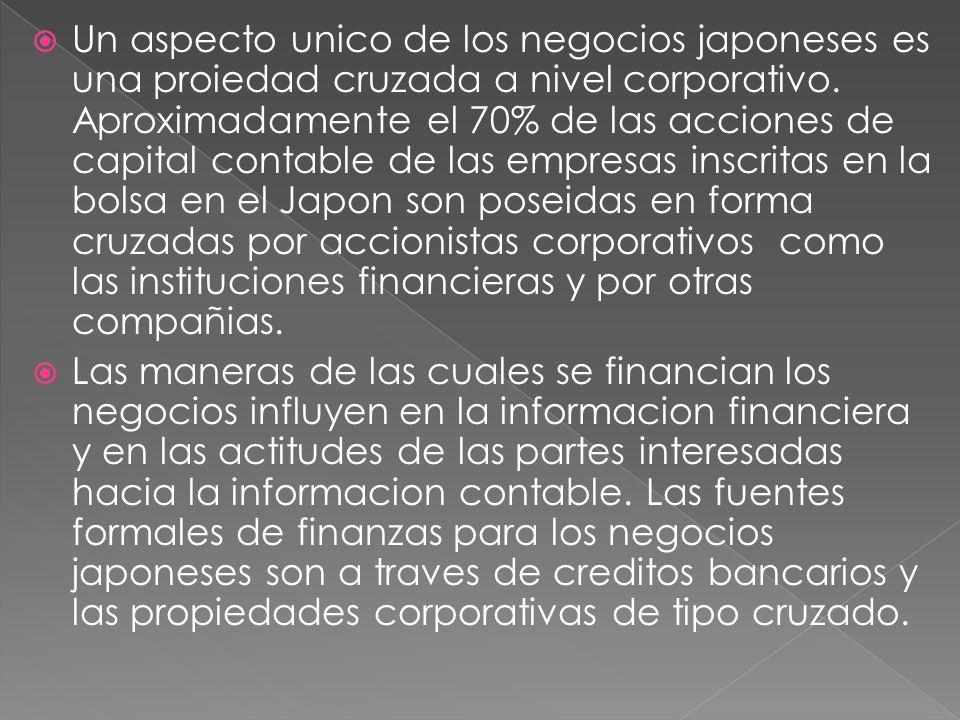 Un aspecto unico de los negocios japoneses es una proiedad cruzada a nivel corporativo. Aproximadamente el 70% de las acciones de capital contable de las empresas inscritas en la bolsa en el Japon son poseidas en forma cruzadas por accionistas corporativos como las instituciones financieras y por otras compañias.