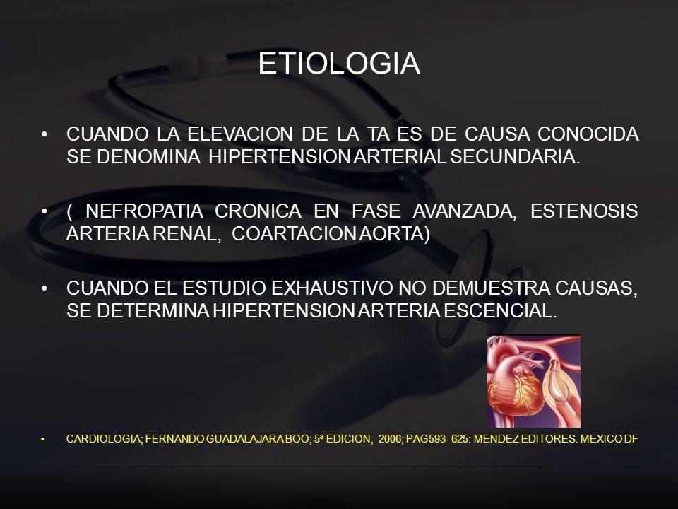 ETIOLOGIA CUANDO LA ELEVACION DE LA TA ES DE CAUSA CONOCIDA SE DENOMINA HIPERTENSION ARTERIAL SECUNDARIA.