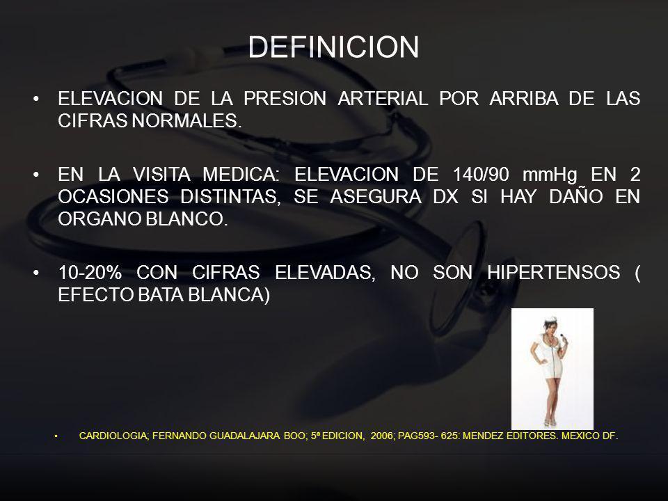 DEFINICION ELEVACION DE LA PRESION ARTERIAL POR ARRIBA DE LAS CIFRAS NORMALES.