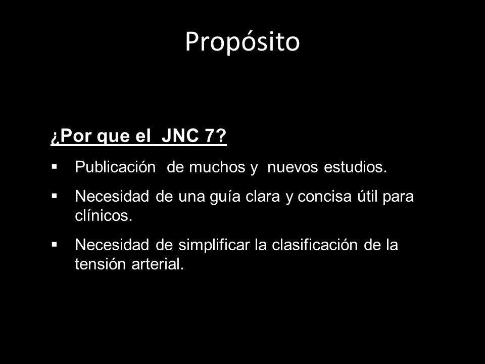 Propósito ¿Por que el JNC 7 Publicación de muchos y nuevos estudios.