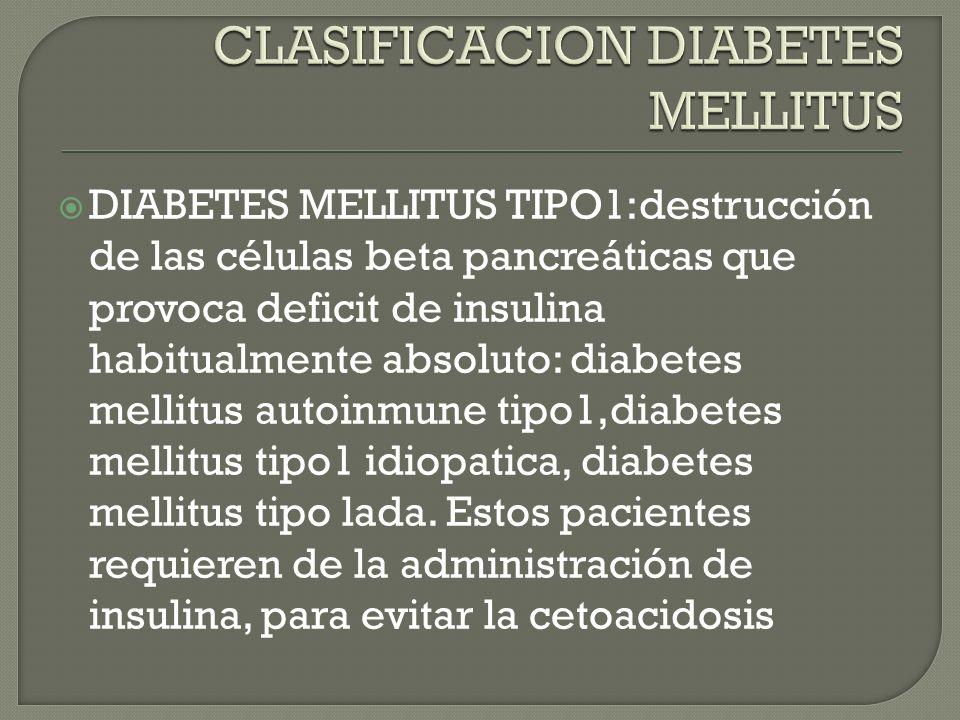CLASIFICACION DIABETES MELLITUS