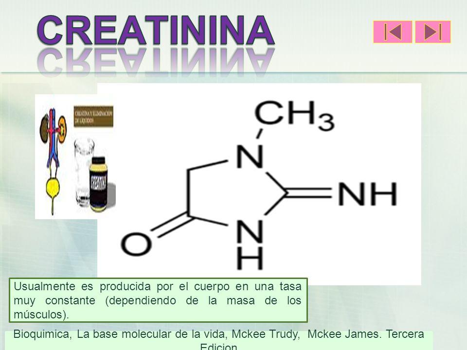 CREATININA Usualmente es producida por el cuerpo en una tasa muy constante (dependiendo de la masa de los músculos).)