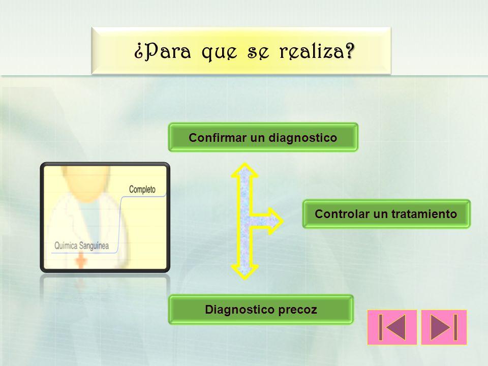 Confirmar un diagnostico Controlar un tratamiento