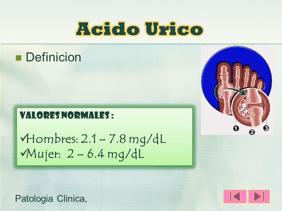 Acido Urico Definicion Hombres: 2.1 – 7.8 mg/dL Mujer: 2 – 6.4 mg/dL