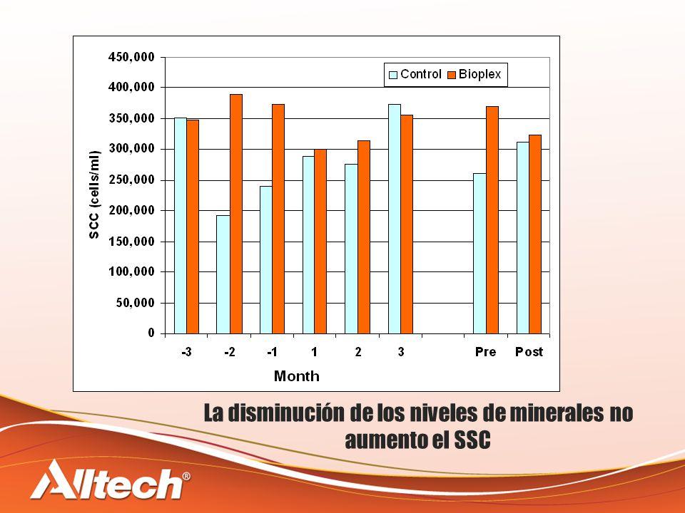 La disminución de los niveles de minerales no aumento el SSC