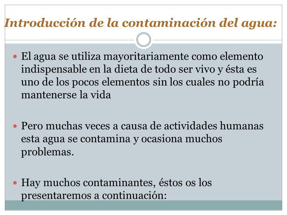 Introducción de la contaminación del agua: