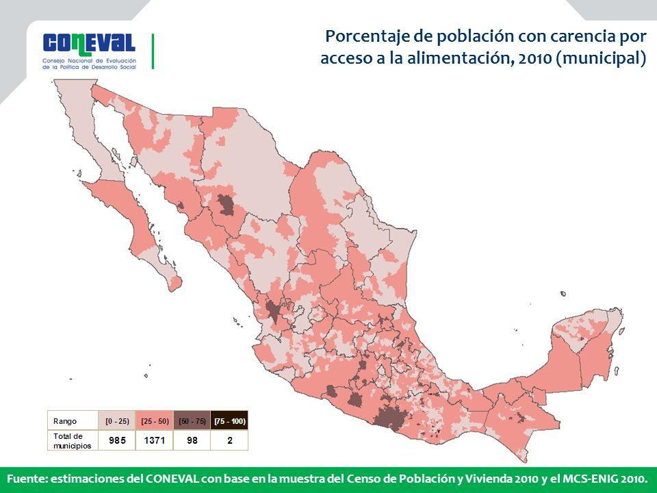 Mapa municipal Porcentaje de población con carencia por
