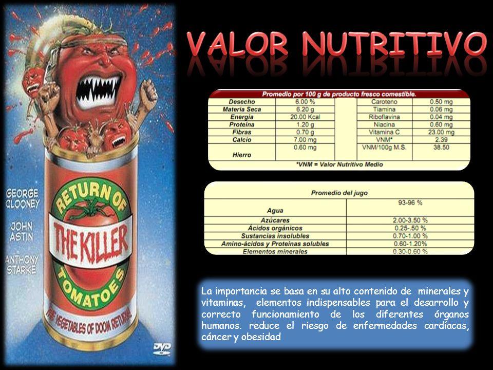 VALOR NUTRITIVO aporte de vitaminas y minerales….. Sin embargo, pasa a ocupar el primer.