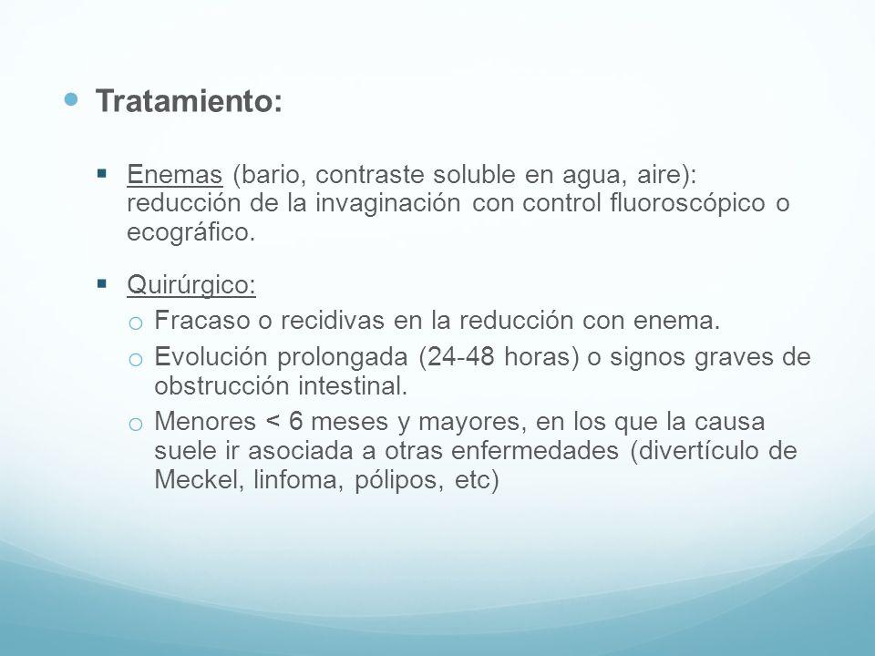 Tratamiento: Enemas (bario, contraste soluble en agua, aire): reducción de la invaginación con control fluoroscópico o ecográfico.