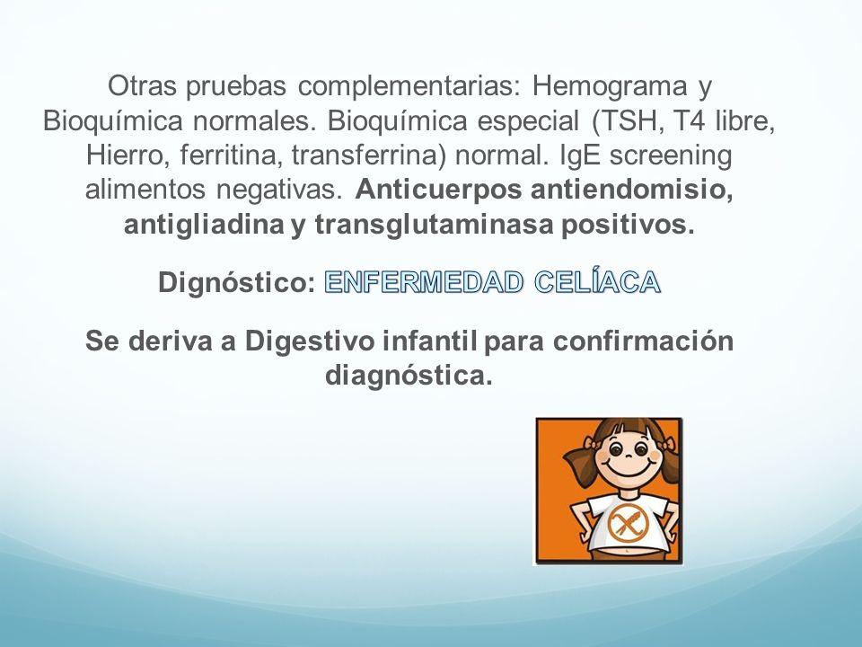 Otras pruebas complementarias: Hemograma y Bioquímica normales