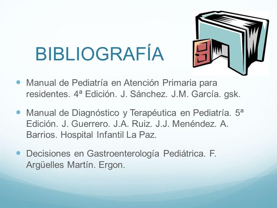 BIBLIOGRAFÍA Manual de Pediatría en Atención Primaria para residentes. 4ª Edición. J. Sánchez. J.M. García. gsk.