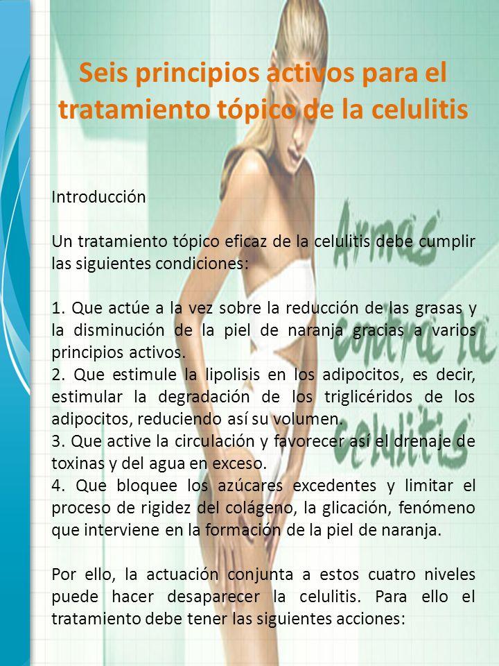 Seis principios activos para el tratamiento tópico de la celulitis