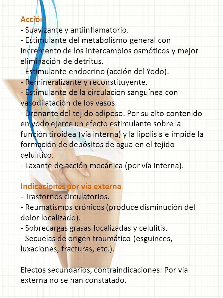 Acción - Suavizante y antiinflamatorio.