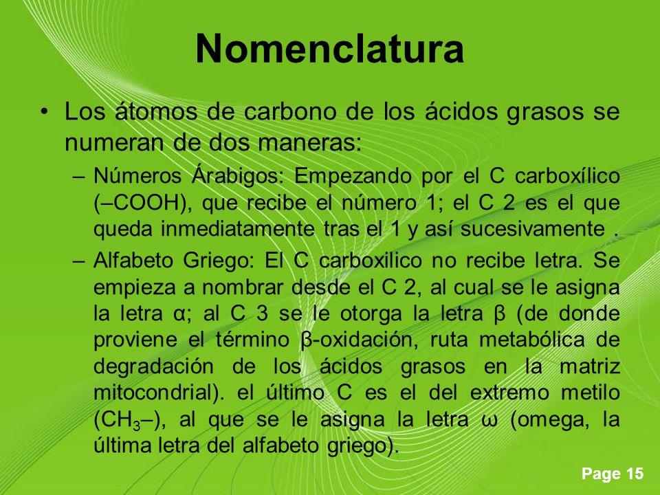 Nomenclatura Los átomos de carbono de los ácidos grasos se numeran de dos maneras: