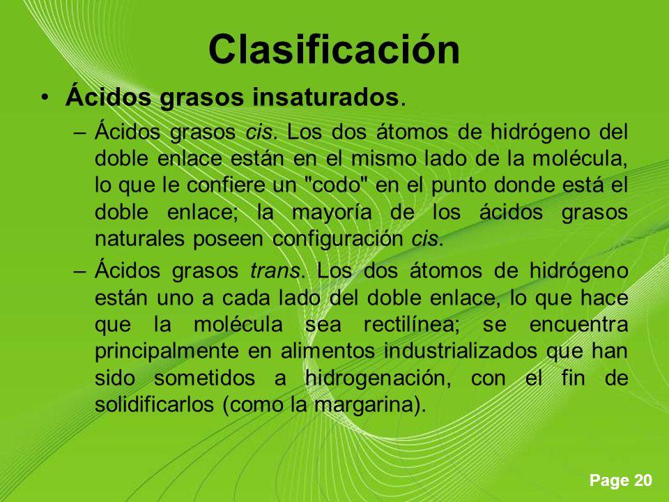 Clasificación Ácidos grasos insaturados.