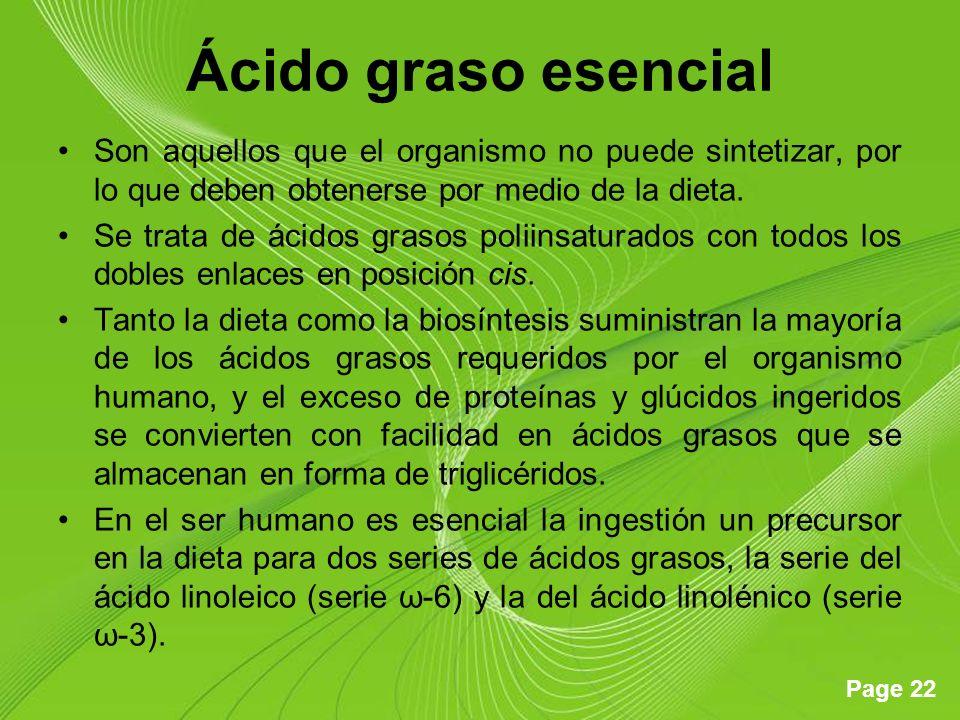 Ácido graso esencial Son aquellos que el organismo no puede sintetizar, por lo que deben obtenerse por medio de la dieta.