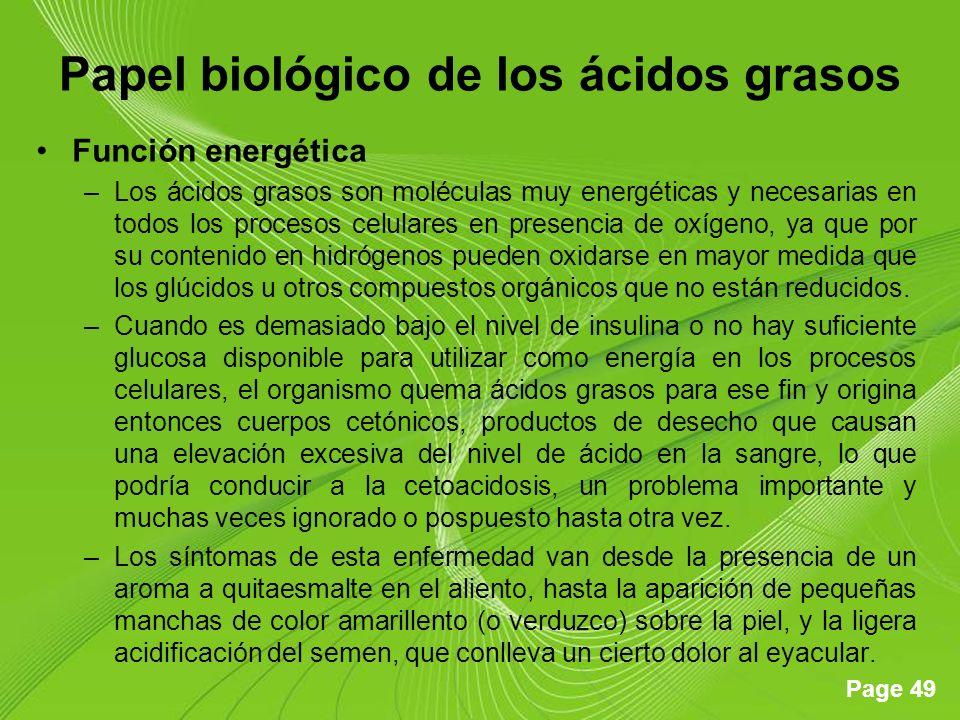 Papel biológico de los ácidos grasos