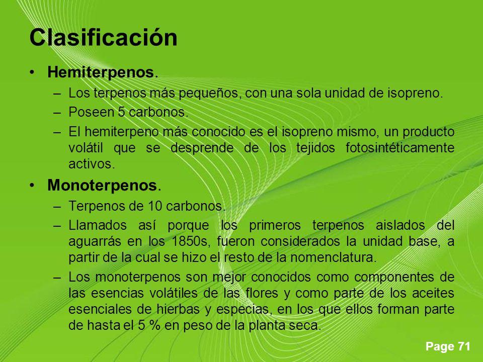 Clasificación Hemiterpenos. Monoterpenos.