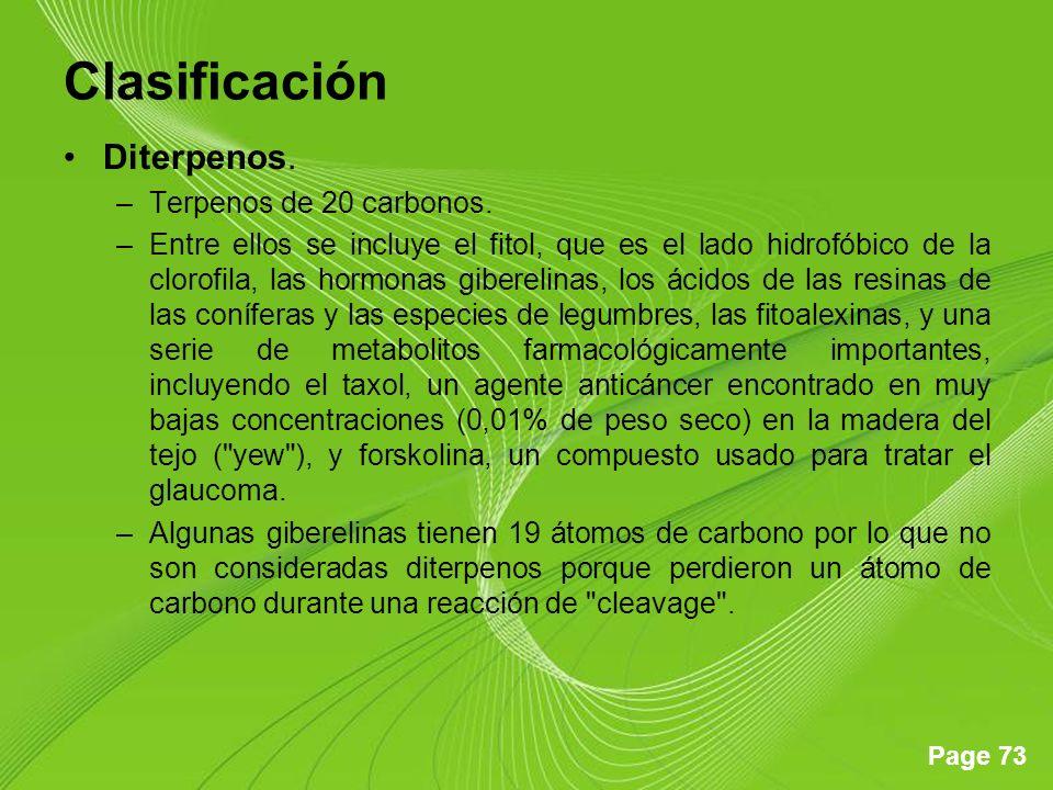 Clasificación Diterpenos. Terpenos de 20 carbonos.