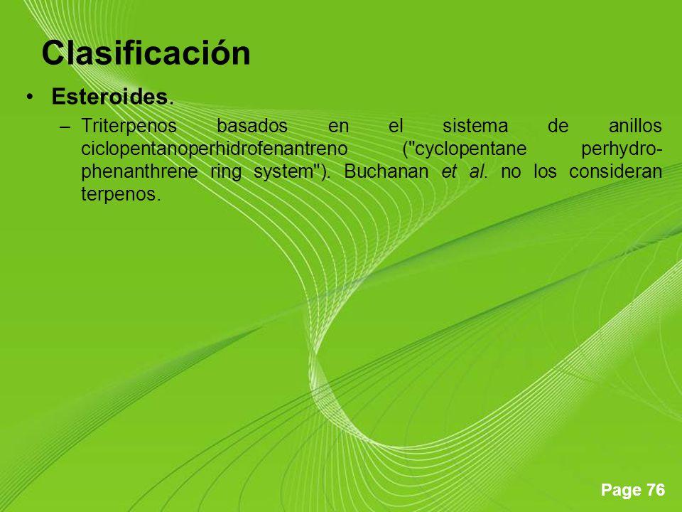 Clasificación Esteroides.