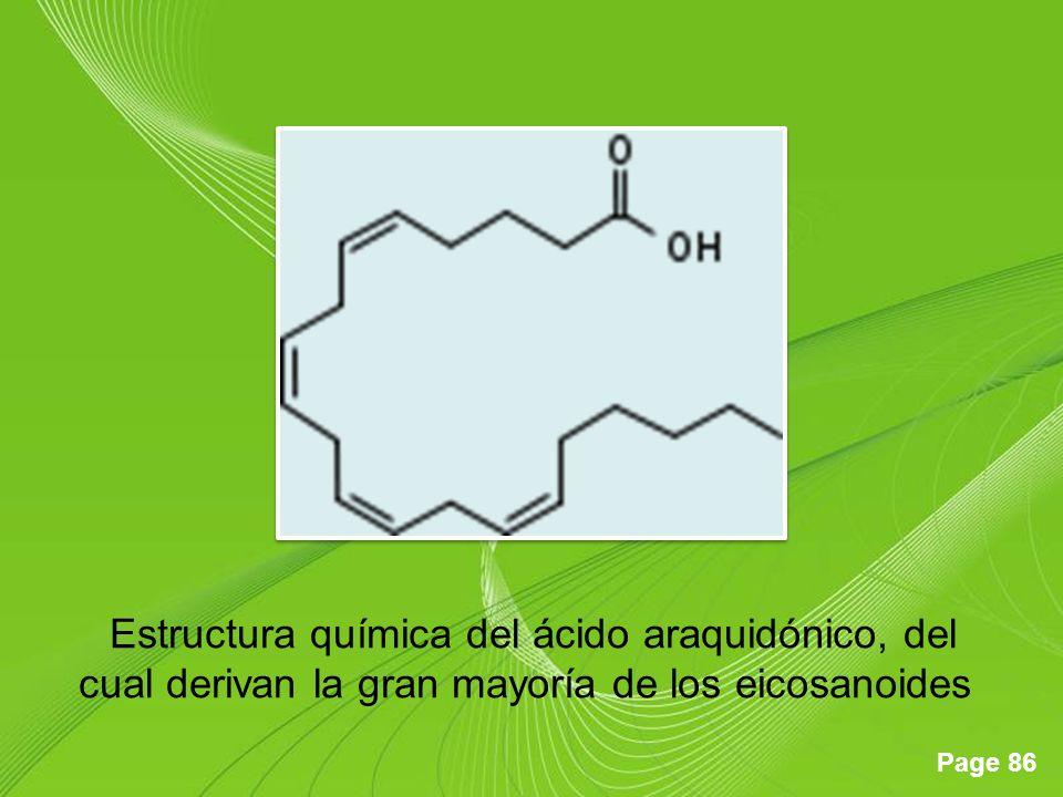 Estructura química del ácido araquidónico, del cual derivan la gran mayoría de los eicosanoides